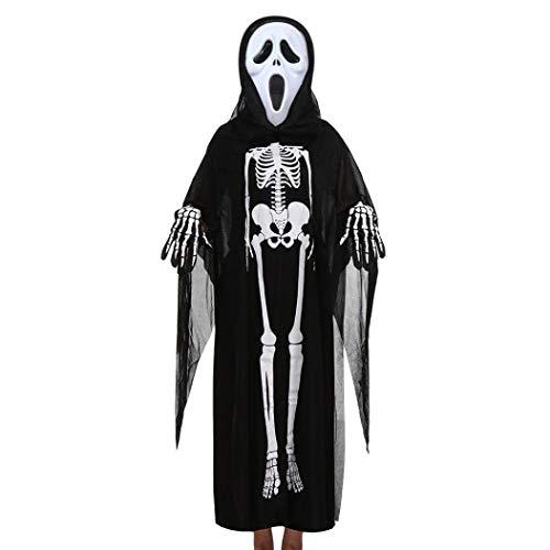 Kleinkind Jungen Mädchen Kinder Halloween Kleidung Dämon Knochendruck Cosplay Skelett Kostüm Mantel Umhang + Maske + Handschuhe Outfits Set (A)