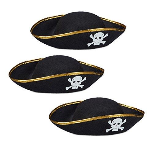 3x Piratenhut schwarz im Set, Dreispitz, mit Totenkopf, Kopfbedeckung für Fasching oder Karneval, Einheitsgröße, black