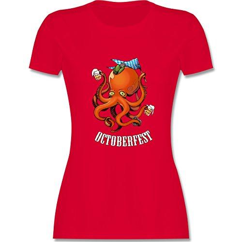 Oktoberfest Damen - Octoberfest Octopus - tailliertes Premium T-Shirt mit Rundhalsausschnitt für Damen Rot