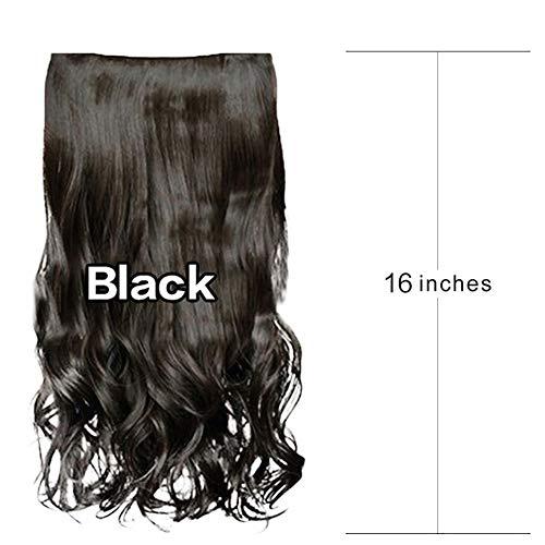 Fünf Kostüm Schnelle Minuten - Haarteil Mode Lange Gewellte Keine Glänzende Keine Lücke Unsichtbare Synthetische Perücken 1 Stück 5 Clips Clip in Haarverlängerungen für Frauen Mädchen 16 Zoll,Schwarz