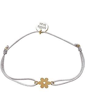 Smilla Brav Freundschafts-Damen-Armband DAISY - hellgrau / goldplattierte Blume - GB04