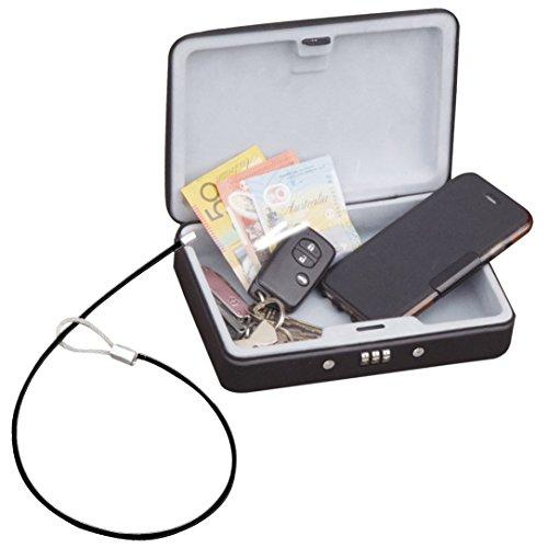 sepox tragbar Zahlenschloss Box Safe Platz Kombination Reise Lock Box mit Kabel Cash Schmuck Aufbewahrungsbox Auto Tresore Pistole Gun Boxen Safe mit Diebstahlschutz Draht Seil (Gun Seil)