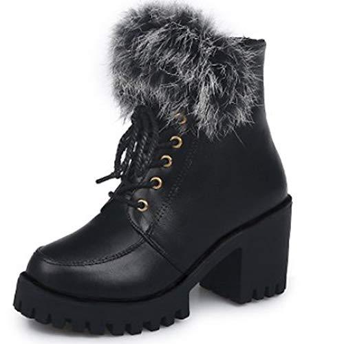 IWxez Damenmode Stiefel PU (Polyurethan) Winter Casual Stiefel Chunky Heel Wadenstiefel Schwarz/Burgund, Schwarz, US8 / EU39 / UK6 / CN39