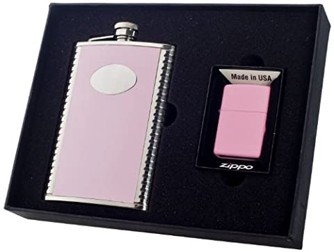 Visol Supermodel Flask and Zippo Lighter with Pink Matte, 8-Ounce by Visol