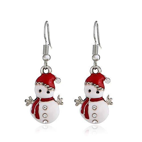 NiceButy Boucles doreilles de bonhomme de neige créés avec des cristaux Boucles doreilles de saveur de Noël pour les filles et les femmes Bijoux - 1 Paire