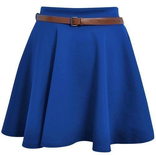 Skater Belted Stretch Waist Plain Flippy Flared Short Skirt Royal Womens Size 12