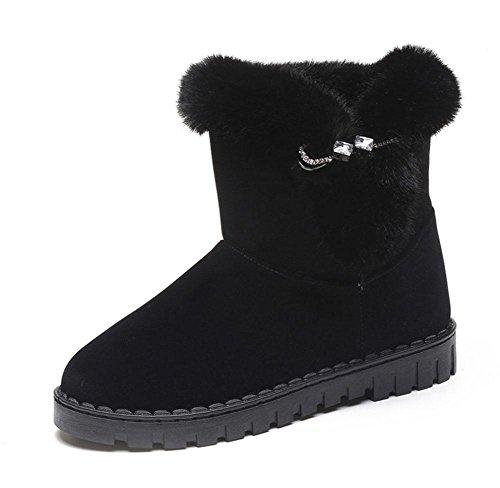 MEILI Scarpe da donna, stivali da donna, scarponi da neve, stivali a fondo piatto, più velluto, addensato, stivali, interno, fondo spesso, moda, tempo libero, sport black