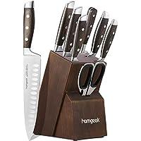 homgeek Cuchillo de Cocina Profesional, Juego Cuchillos Cocina Hecho de Acero Inoxidable 1.4116 Alemán, Incluye Tijeras, Bloque de Madera, 8 Piezas