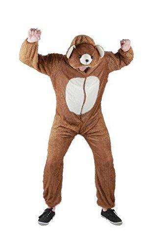 Foxxeo Bären Kostüm für Erwachsene Damen und Herren Tierkostüm Overall Jumpsuit Größe L (Teddy Bär Kostüm Für Erwachsene)