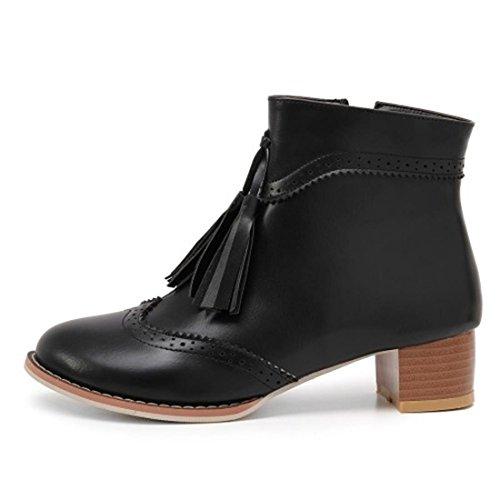 UH Femmes Chaussures Bottes Rétro avec Dentelle Bout Pointu avec Zip et Frange à Talons Basse Bloc à Cheville avec Fourrure Noir