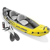 Intex Explorer K2Kayak, Kayak Hinchable de 2Personas Set con remos de Aluminio y Bomba de Aire de Salida de Alta