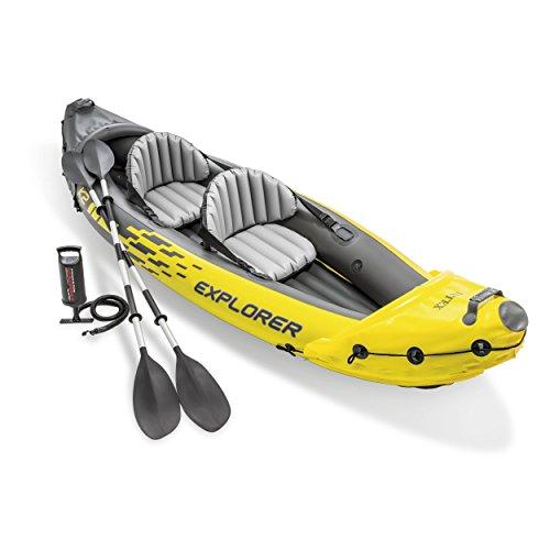 El modelo Intex Explorer K2 es un Kayak hinchable. De vinilo rugoso robusto y resistente con calibre 30; y suelo robusto. El Explorer K2 es la elección óptima para comodidad y facilidad de uso en lagos o ríos suaves.