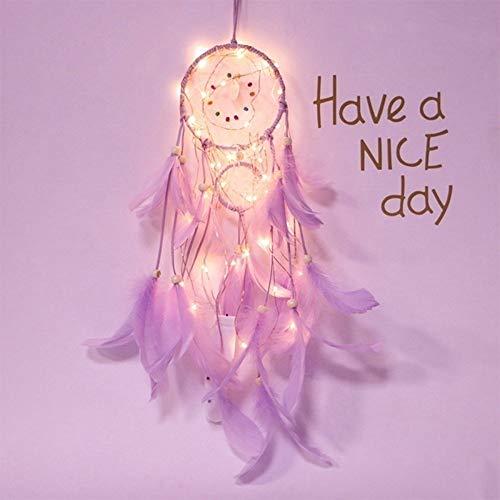 Luz de noche creativa niña de tres años corazón atrapasueños lámpara de viento de hierro forjado