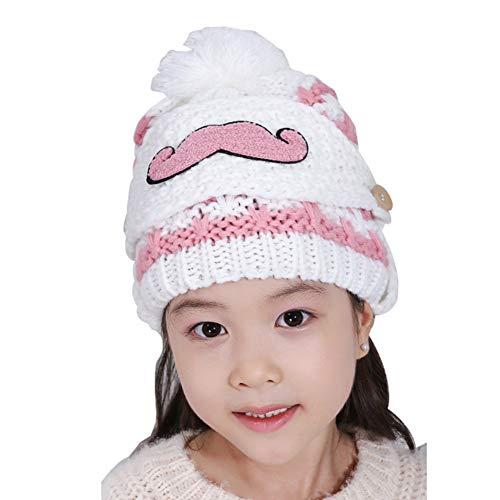 AchidistviQ Strickmütze für Mädchen, für den Winter, warm, mit Mund und Maske weiß (Batgirl Maske Rosa)