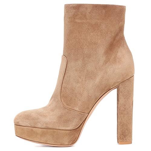 High Heel-plattform, Boot (CYMIU Womens Wasserdichte Plattform Dicker High Heel Ankle Boots Große Größe Booties Braun 2018, Brown)