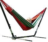 macamex Cuba gigante Hamaca soporte estructura en Juego con hamaca de algodón rojo, naranja, verde para dos personas