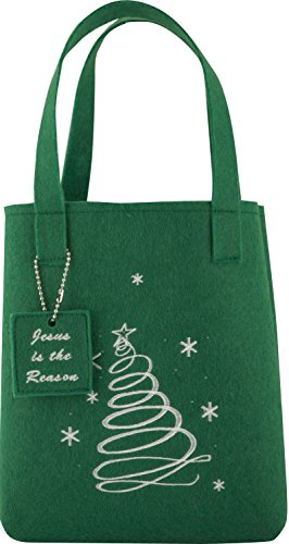 Family Christian Christian Weihnachten Faser Tote Geschenk Tüte-Grün Weihnachtsbaum -