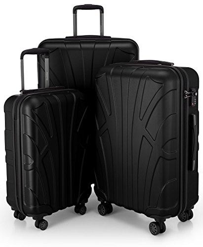SUITLINE - 3er Koffer-Set Trolley-Set Rollkoffer Hartschalen-Koffer Reisekoffer, TSA, (S, M & L), Koffer-Set, 76 cm, 210L, Schwarz