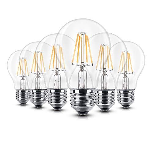 6er Pack LED Lampe Glühfaden, iGOKU Dimmbare Lampe 6W E27 2700k Warmweiß Leuchte Led Birne, Ultrahell 680Lumen Klar 360°Abstrahlwinkel LED Birne 60W Entspricht Edison Lampe