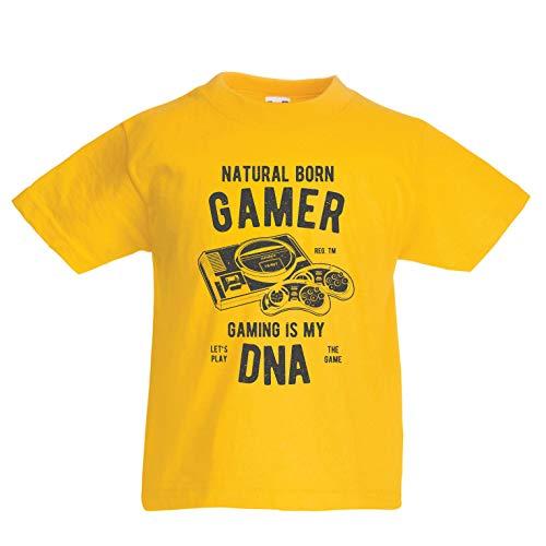 en/Mädchen T-Shirt geborener Spieler, das Spielen ist Meine DNA, Lass Uns das Spiel Spielen (1-2 Years Gelb Mehrfarben) ()