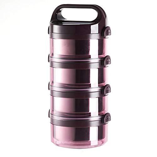 FEILING Boîte Alimentaire Ronde Bol Isothermes Conteneur de Repas Portable en Acier Inoxydable,4Couches,Pink