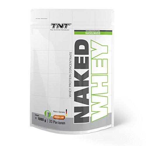 Naked Whey Protein | Eiweiß-Pulver für Muskelaufbau & Abnehmen | Low Carb Protein-Pulver Shake mit Laktase – Aspartamfrei mit Aminosäuren (BCAA) | TNT Premium Qualität aus Deutschland – 1kg - HASELNUSS (Hohe Qualität-protein-pulver)