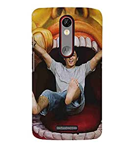 For Motorola Moto X Force laughing man, man in mouth, man, mouth Designer Printed High Quality Smooth Matte Protective Mobile Case Back Pouch Cover by APEX