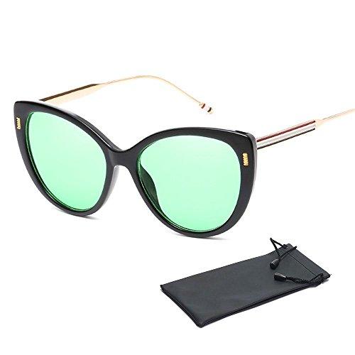 Oversize Cateye Sonnenbrille, für Männer, Frauen, Aolvo verspiegelte Linse Fashion Designer Polarisierte Katzenauge Sonnenbrille für Mädchen, Vintage Cateye Sonnenbrille für Damen mit Set Tasche, UV400, mehrere Farben Black Frame & Green Lens