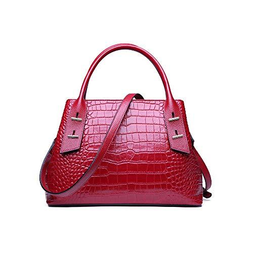 DRAKE18 Frauen Totes aus Rindsleder Handtaschen Boston Crocodile Muster Handtasche eine Schulter tragbare Messenger Bag Damen,Red -