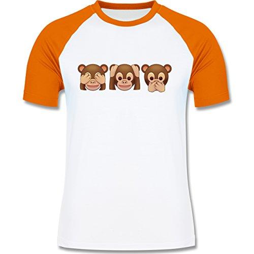 Comic Shirts - Äffchen Emoji - zweifarbiges Baseballshirt für Männer Weiß/Orange