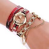 BaZhaHei Damen Uhren Frau Leder Strass Rivet Kette Quarz Armband Armbanduhr Lederarmband im Vintage Design Uhr (rot)