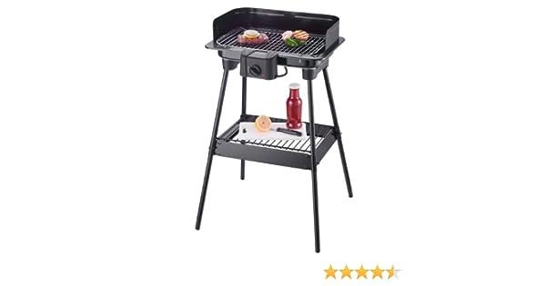 Severin 8523 Barbecue sur Pieds 2300W Grille Chromée 37 x 23 cm Noir