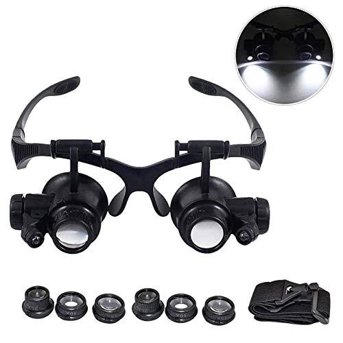 10X 15X 20X 25X Kopfhalterung Lupe Mit 2 Leuchten, Lupe Mit Stirnband Für Enge Arbeit, Uhrenreparatur, Schmuck, Kunsthandwerk Oder Lesehilfe