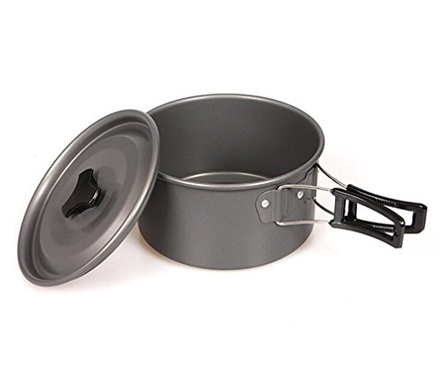 NUO-Z Camping Cooking Pot Aluminum 2-3 People Folding Handles Outdoor