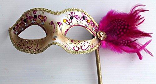 Damen Rosa und Gold Venezianische Maskerade Partei Karneval Maske und Federn auf einem Stick/Stock - ()