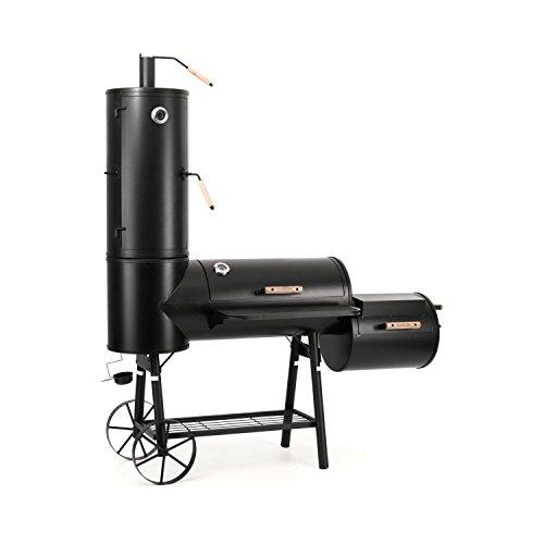 Klarstein Monstertruck Carrello Barbecue con Affumicatore (3 unità griglia, 4 ripiani di affumicatura, superficie griglia da 5200 cm², 2 termometri, sportelli di areazione) -
