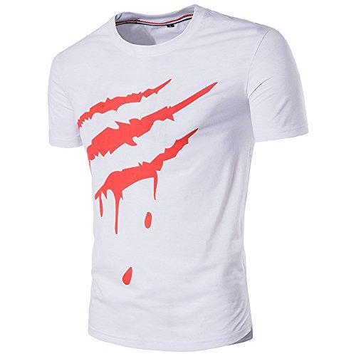 Swallowuk Herren Casual Bedrucktes kurzärmeliges T-Shirt Sport Hemd Tops (M, Weiß)
