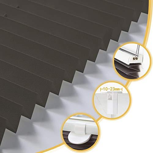 Deswell Plissee Rollo Jalousie ohne Bohren Klemmfix für Fenster & Tür Anthrazit 65 x 200 cm, Plisseerollo Stoff Sonnenschutz leicht zu montieren & Verspannt