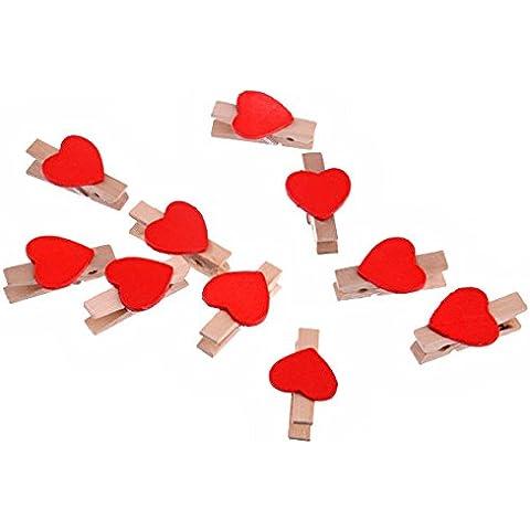 ULTNICE Lindo Mini corazón estilo madera foto Nota tarjeta pinzas Clip para arte decoración 10