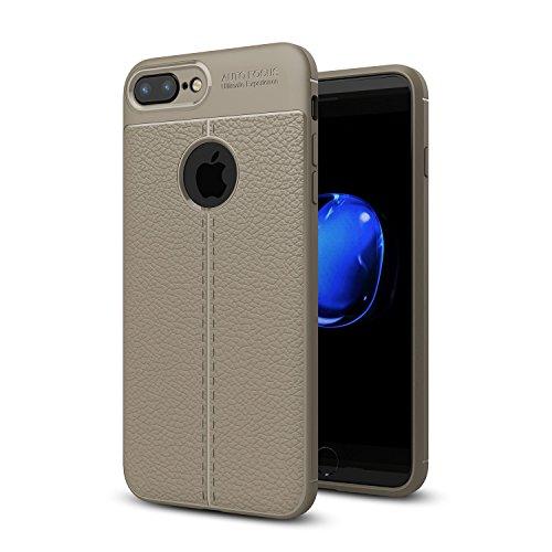 DBIT iPhone 7 Plus / iPhone 8 Plus Custodia ,Coperchio di Protezione Compatto Litchi pelle con Cassa Antiurto in Silicone Ultra Morbido e Leggero TPU Case Cover + 1 Pellicola Protettiva per iPhone 7 P Grigio