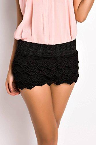 ACHICGIRL Women Vintage High Waist Lace Shorts Black