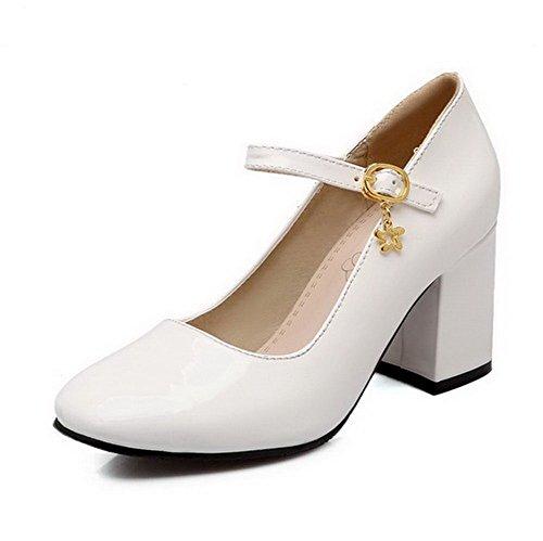 AgooLar Femme Verni Boucle Carré à Talon Haut Couleur Unie Chaussures Légeres Blanc