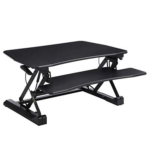 SONGMICS Sitz-Steh-Schreibtisch höhenverstellbarer Aufsatz Steharbeitsplatz Monitorständer mit Abnehmbarem Tastaturhalter, geräumige Tischplatte (90 x 59 cm) Schwarz LSD07B