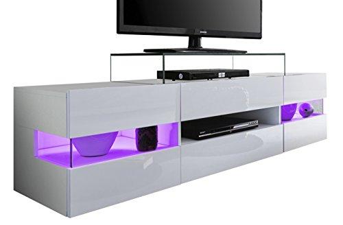 Trendteam 1506-316-01Sonic Bas avec façade en blanc brillant, LED non inclus, 169x 43x 43,5cm