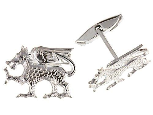 Pays de Galles/gallois Dragon Boutons de manchette - Argent Sterling 925 - Livré dans une boîte cadeau gratuit ou sac cadeau