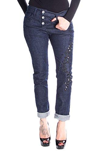 P78A Damen 5 Pockets Baggy Boyfriend Jeans Hosen XS Denim