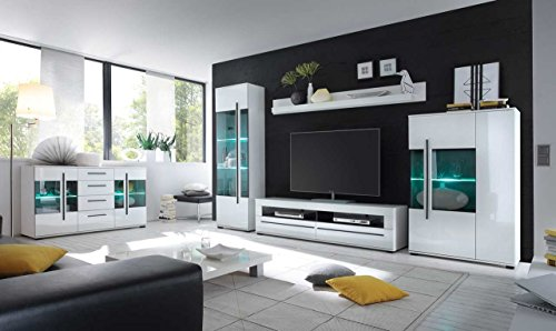 Sideboard in weiß mit Hochglanz Tiefziefronten und Grauglas, 2 Türen, 4 Schubkästen, Maße: B/H/T ca. 150/86/42 cm - 2