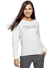 oodji Ultra Mujer Suéter de Algodón con Pedrería