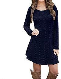 Ropa premamá Fiesta BBsmile premamá Vestido Mujeres Damas Manga Larga Jersey de Cuello Redondo Delgado Suéter de Punto Casual Mini Vestido