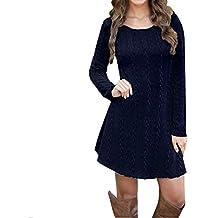 Mujer suéter de Cuello Alto Jersey de Punto de Sweater Tops Elegante Suéter de Manga Larga para Mujer Suéter de Cuello Redondo Mini Vestido de suéter ...